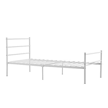Aingoo letto singolo letti di metallo ferro letto Bianco 90x190cm