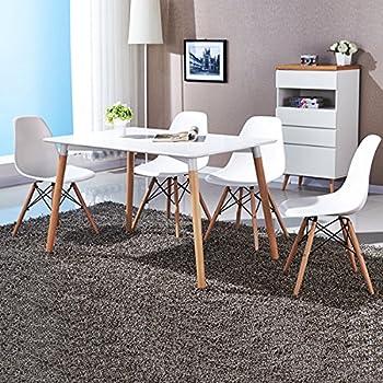 Giantex Set of 4 Mid Century Modern Style DSW Dining Chair Side Wood Leg (White)