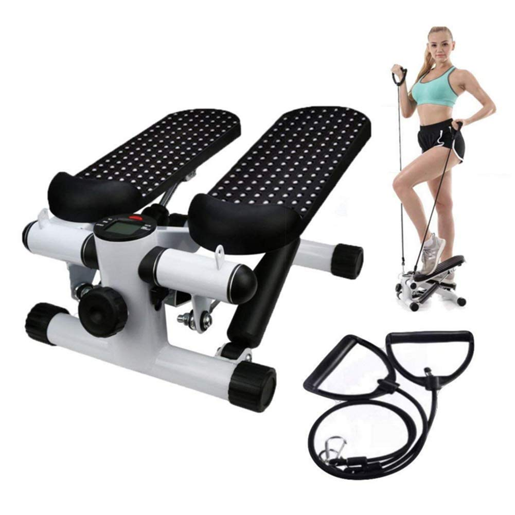 Office Stepper, Household Hydraulic Mute Stepper Aerobic Twister with Adjustable Resistance Bands - Multi-Function Pedal Indoor Cardio Training Fitness Exercise Machine Equipment Treadmill by Sixpi