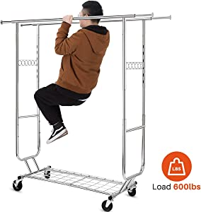 HOKEEPER Double Clothing Garment Rack with Shelves Capacity 600 lbs Clothing Racks on Wheels Rolling Clothes Rack for Hanging Clothes Heavy Duty Portable Collapsible Commercial Garment Rack Chrome