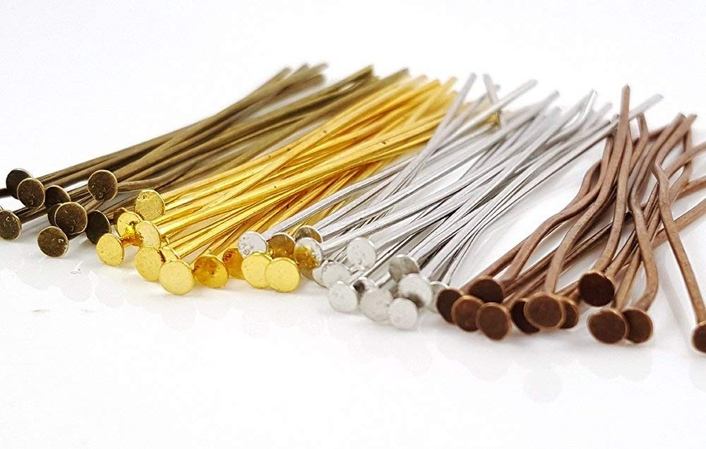 200pc Gold Solid Brass Head Pins for Jewelry Making- Hypoallergenic Nickel Free- 2 inch 50mm Sodacraft 4336829731