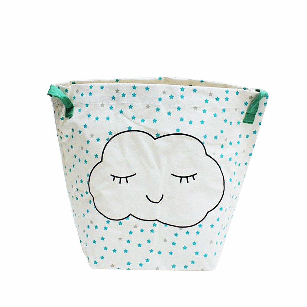 Znvmi Groß Wäschekorb Wäschesack aus Baumwolle Kleidung Aufbewahrungstasche Spielzeugkorb für Kinderzimmer - Blitz