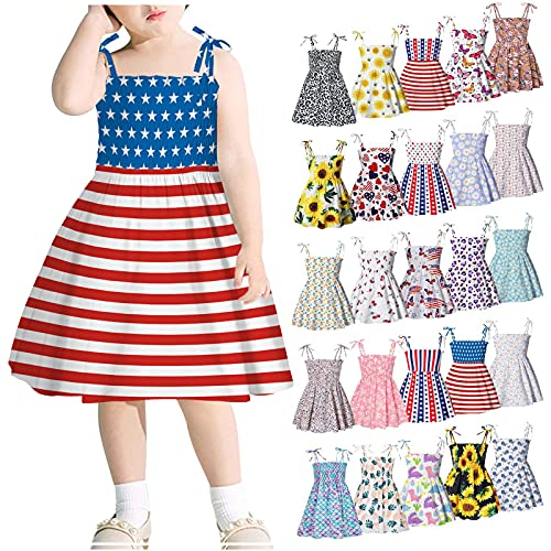 Independence Day Toddler Baby Girls Summer Dress Floral Sleeveless Cotton Outfits Size 1-6 Years