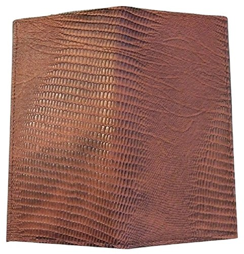 Men's Women's LIZARD Reptile PATTERN GENUINE Leather Black Brown Tan Burgundy Checkbook Cover Wallet (Medium Brown)