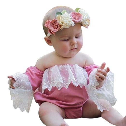 145930b37 Gonxifacai Newborn Infant Baby Girls Boutique Lace Off Shoulder Romper  Jumpsuit Outfits Clothes(Pink,