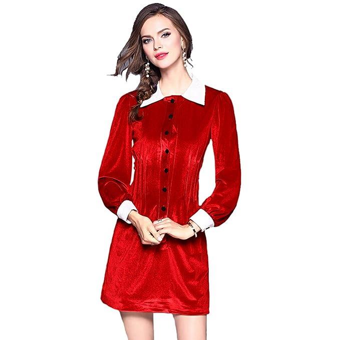 ZKOO Mujer Vestidos de Terciopelo Manga Larga Slim Rojo Vestidos de Fiesta Cortos para Cóctel Fiesta