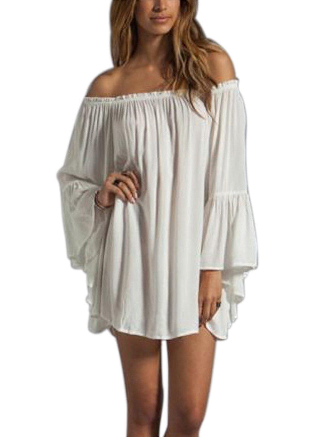 BienBien Ruffle Sleeve Tops Women Sexy Summer Casual Chiffon Long Sleeve Off Shoulder Beach Mini Dress