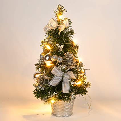 gsha tabletop pre lit christmas tree artificial small pine christmas trees with baubles and lights - Small Pre Lit Christmas Trees