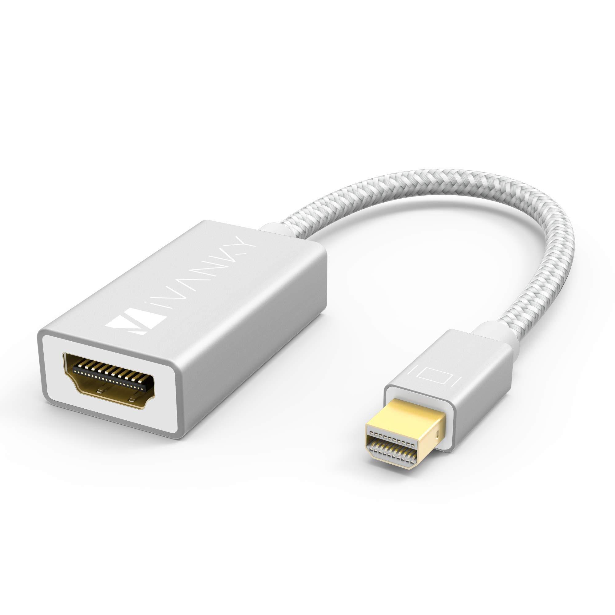 iVanky Adaptador Mini DisplayPort a HDMI (Cabezales de Aluminio, Conexión Fácil) Adaptador Thunderbolt a HDMI Compatible con Microsoft Surface Pro, ...