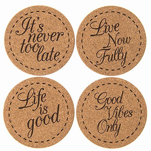 Inspirational Coasters - Beverage Coasters Inspirational Set (4 Pack) | X Large Premium Cork Coasters for Drinks | Hand-Crafted Packaging