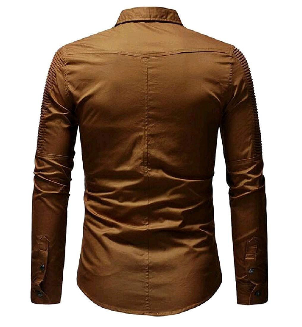 Nicelly Mens Plus Size Back Flap Pocket Turn Down Collar Polo Shirt
