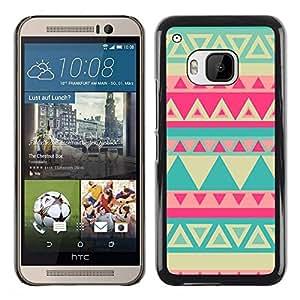 Be Good Phone Accessory // Dura Cáscara cubierta Protectora Caso Carcasa Funda de Protección para HTC One M9 // Teal Yellow Pink Lime Pink Indian Pattern