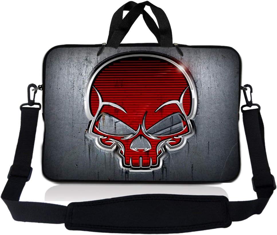 Laptop Skin Shop 15-15.6 inch Neoprene Laptop Sleeve Bag Carrying Case with Handle and Adjustable Shoulder Strap - Silver Red Skull