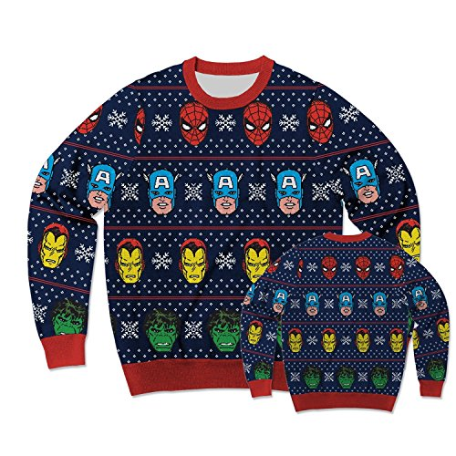 Marvel Avengers Festive Team Ugly Sweater Christmas Edition Crewneck Sweatshirt (Large)