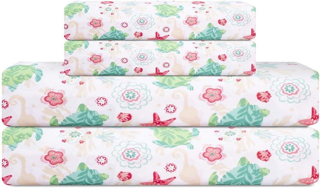 Elite Home Set of Soft Brushed Microfiber Coastal Printed Bed Sheets for Master or Guest Bedrooms, 90 GSM, Queen, Ocean Paradise