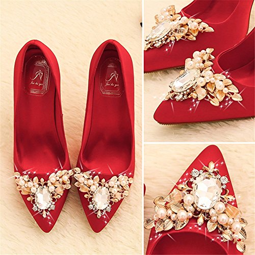 High Shoes gules Women'S Water Spring Drill Party And And Season Sharp Heels Crystal HXVU56546 Autumn Single 4awgnHqRwX
