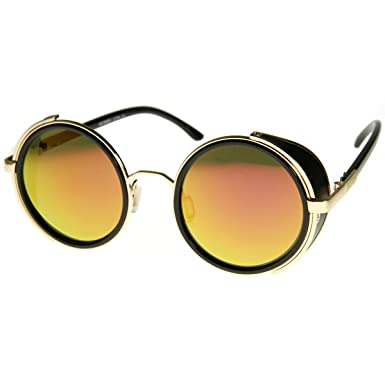 a90dc73f8af zeroUV - Studio Cover Color Mirror Lens Side Shield Metal Round Sunglasses  (Gold Fire)  Amazon.co.uk  Clothing