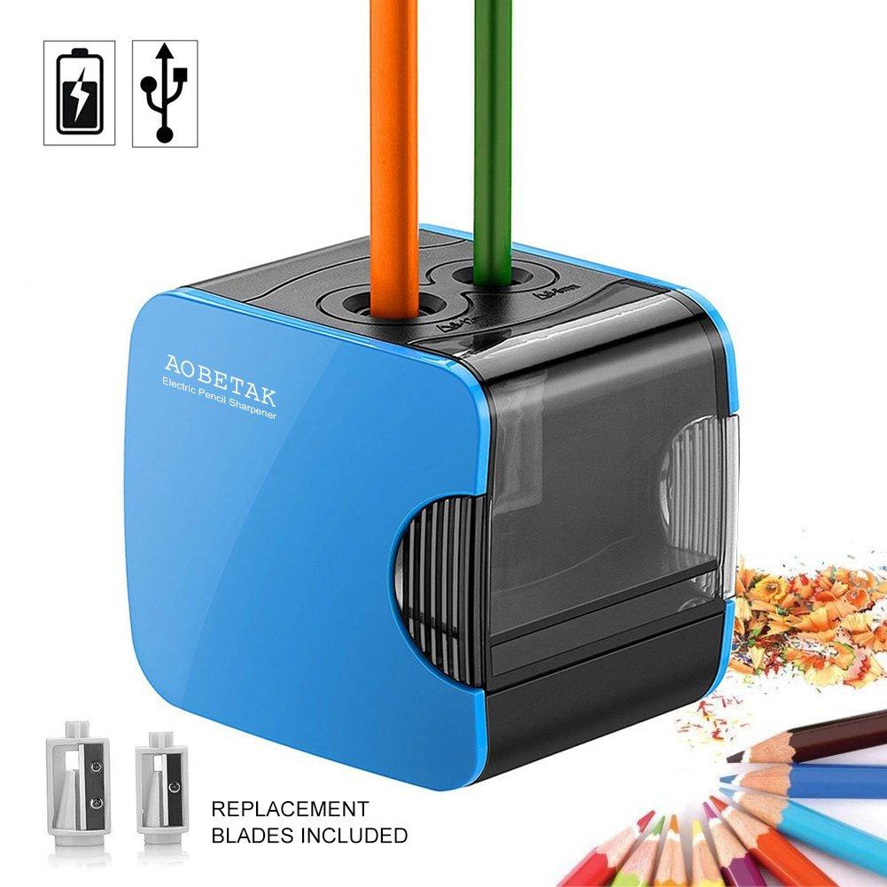 Temperamatite Elettrico con Serbatoio per Bambini,USB e Batteria, Temperino Automatico Elettronico per Matita Colorata e n.2 di AOBETAK