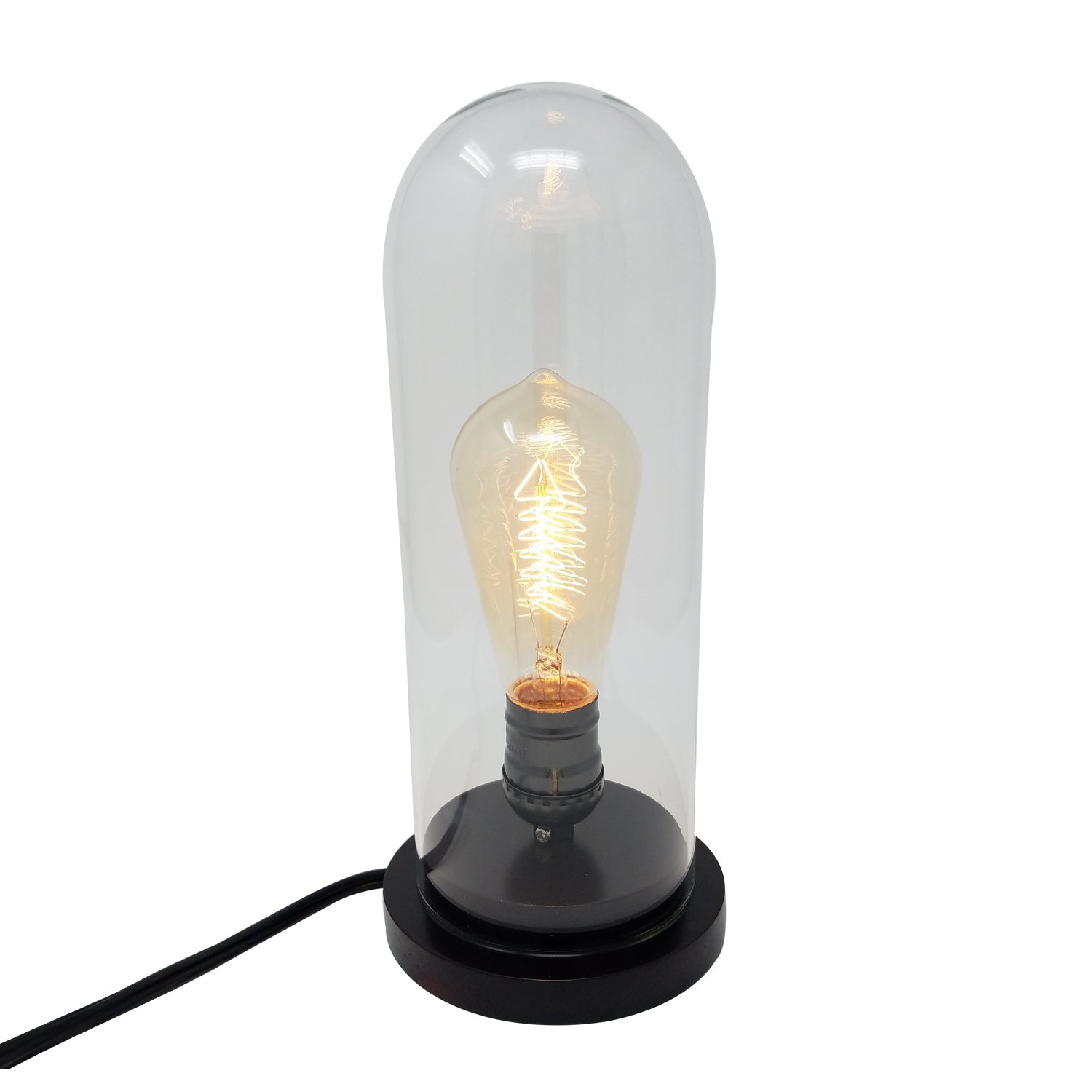 Himalayan Glow 1386 Vintage Desk Lamp Glass Shade 40W Edison Bulb Included by Wbm