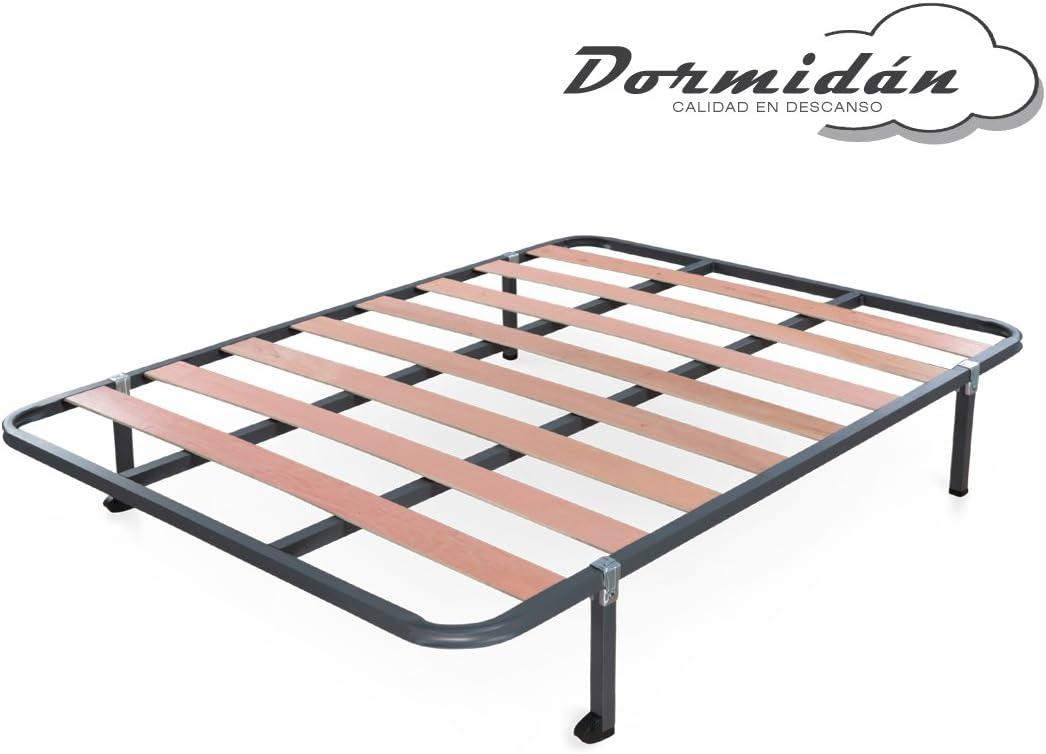 Dormidán - Somier Somieres de Laminas, Fabricado en Tubo de Acero 30 x 30mm, Medida 135x190cm más Patas de 26cm de Alto