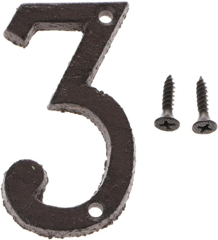 Numero 0 LOVIVER Lettere in Ferro Battuto Nero Antico Porta Numero Civico Targa Autoadesivo