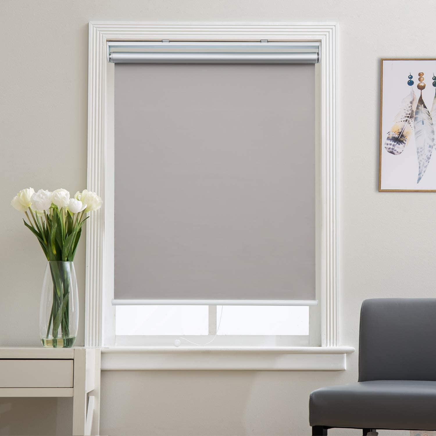 "Blackout Shades Roller Shade Window Blinds, Black Out 99% Light & UV, Thermal, Cordless and Easy to Pull Down & Up, Gray, 31"" W x 72"" H"