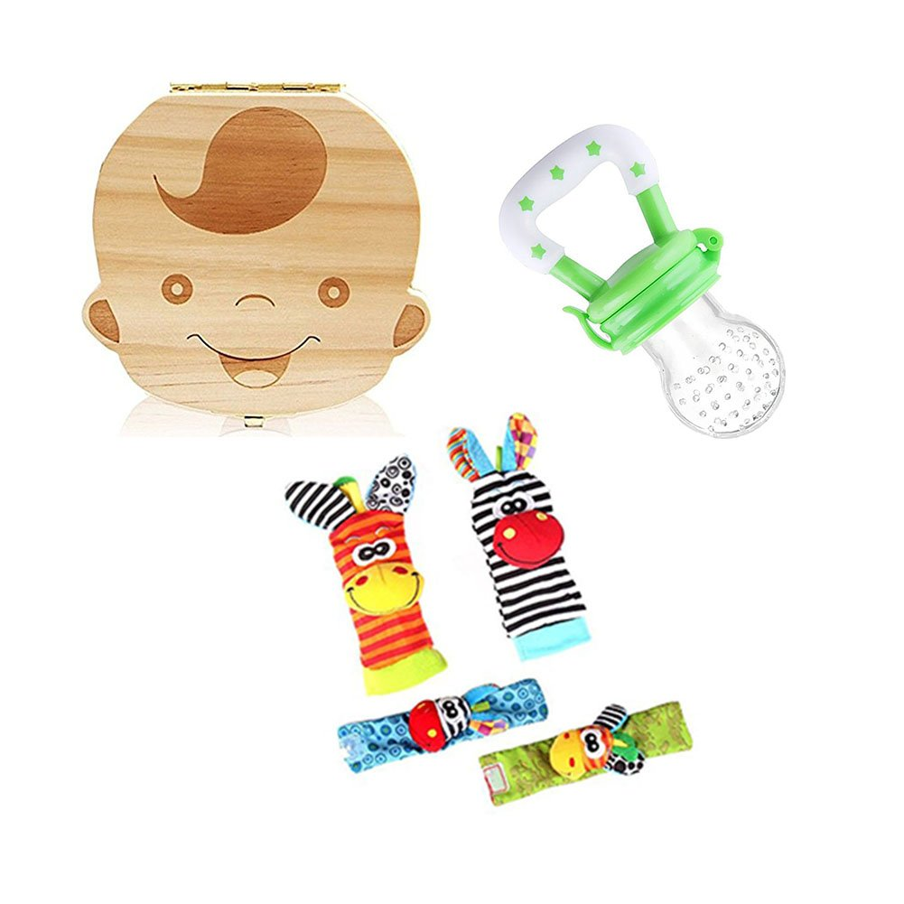 AIUIN 1X Madera de Caja Almacenamiento de Dientes Leches Español + 1Pcs Silicona de Calidad Chupetes Verde + 4Pcs Baby Wrist Socks Rattles Toy (Niña): ...