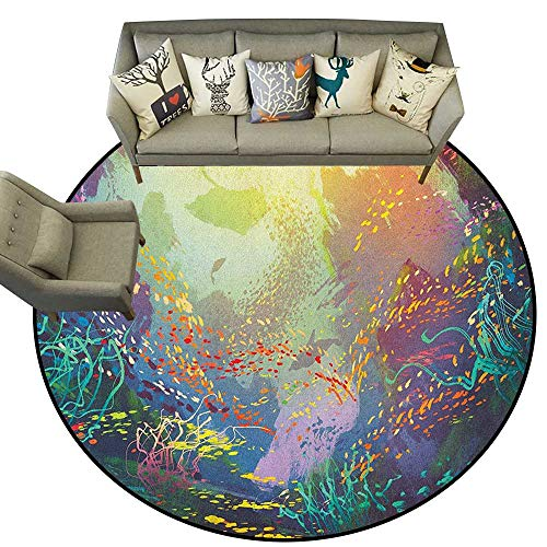 Sea Animals,Rugs for Sale Underwater with Coral Reef and Colorful Fish Aquarium Artistic Print D36 Print Mats Round Area Rugs Carpet