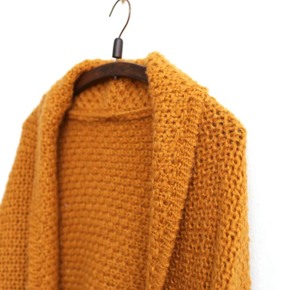 Zengbang Femmes Gilet en Tricot avec Poche Mi-Long Pull /Épais Cardigan Manteau en Maille de Couleur Unie