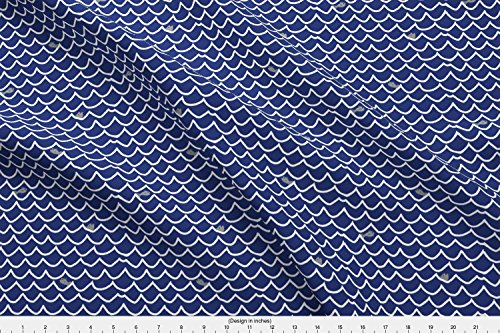 Spoonflower Ocean Theme Fabric Wave Lines With Fish - Navy by Jantetsutaniart Printed on Minky Fabric by the (Minky Line Fabric)