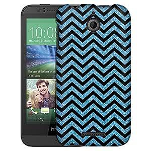 HTC Desire 510 Case, Slim Fit Snap On Cover by Trek Chevron ZigZag Glitter Blue Black Case