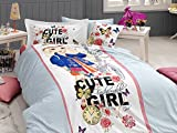 100% Cotton, Cute Girls Bedding Set, Quilt/Duvet Cover Set, Exclusive Luxury Special Design, Single/Twin Size, COMFORTER INCLUDED (6 PCS, Cute Girl)