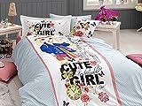 100% Cotton, Cute Girls Bedding Set, Quilt/Duvet Cover Set, Exclusive Luxury Special Design, Single/Twin Size, (5 PCS, Cute Girl)