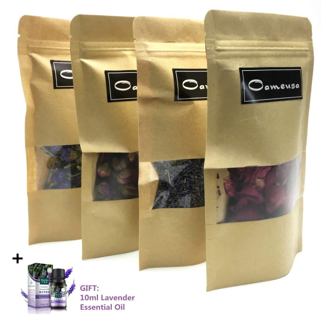 Dried Flowers- Pink Rose, Lavender,Roseleaf, Myosotis sylvatica- Dried Flowers Soap Making Kit - Bath Bomb Kit - Pressed Flowers Herbs for Resin -Bonus + lavender essential oil Oameusa
