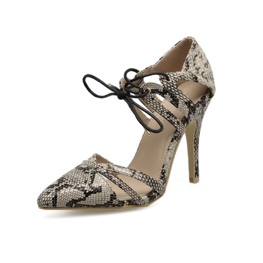 Fashionable women's shoes with Europe and the United States fine autumn with high fashion shoes, beige, 37