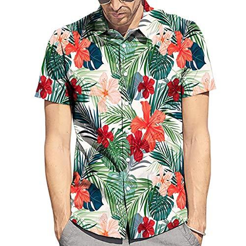 Men's Beach Shirts, JOYFEEL Fashion Printed Blouse Casual Short Sleeve Button Down Summer Hawaiian Shirts ()