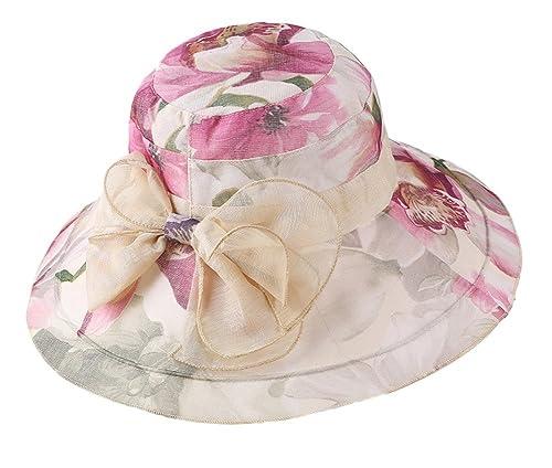 Leisial Mujer Señora Sun Hat Wide Brim Doble Capa Brim Diseño de flores Elegante Bowknot Cuenca Cap ...