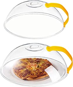 2 Pack Microwave Splatter Cover, Transparent Cover, Microwave Cover for Foods, BPA Free, Microwave Plate Cover Guard Lid with Handle and Adjustable Steam Vents Holes (Yellow)