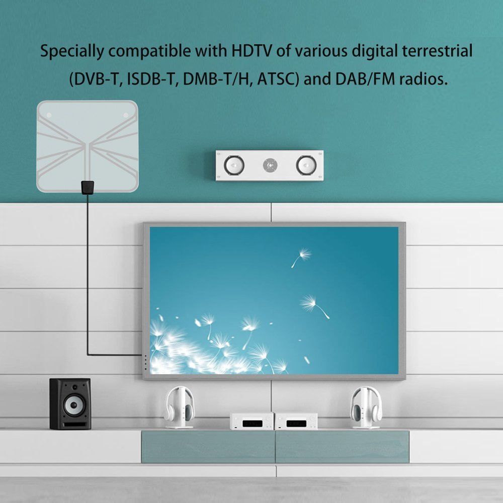 Amplified HDTV Antenna- Chapter Seven Digital Indoor TV Antenna, 50 Mile Range with Detachable Amplifier, 16.4 Ft Copper Coaxial Cable and USB Power Supply-Clear