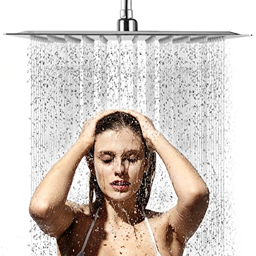 Shower Head,Waterfall Showerhead High Pressure Rainfall Shower Head with Polish Chrome Finish, Ultra Thin with Silicone Nozzle,Durable & Easy to Install by AWSWIN