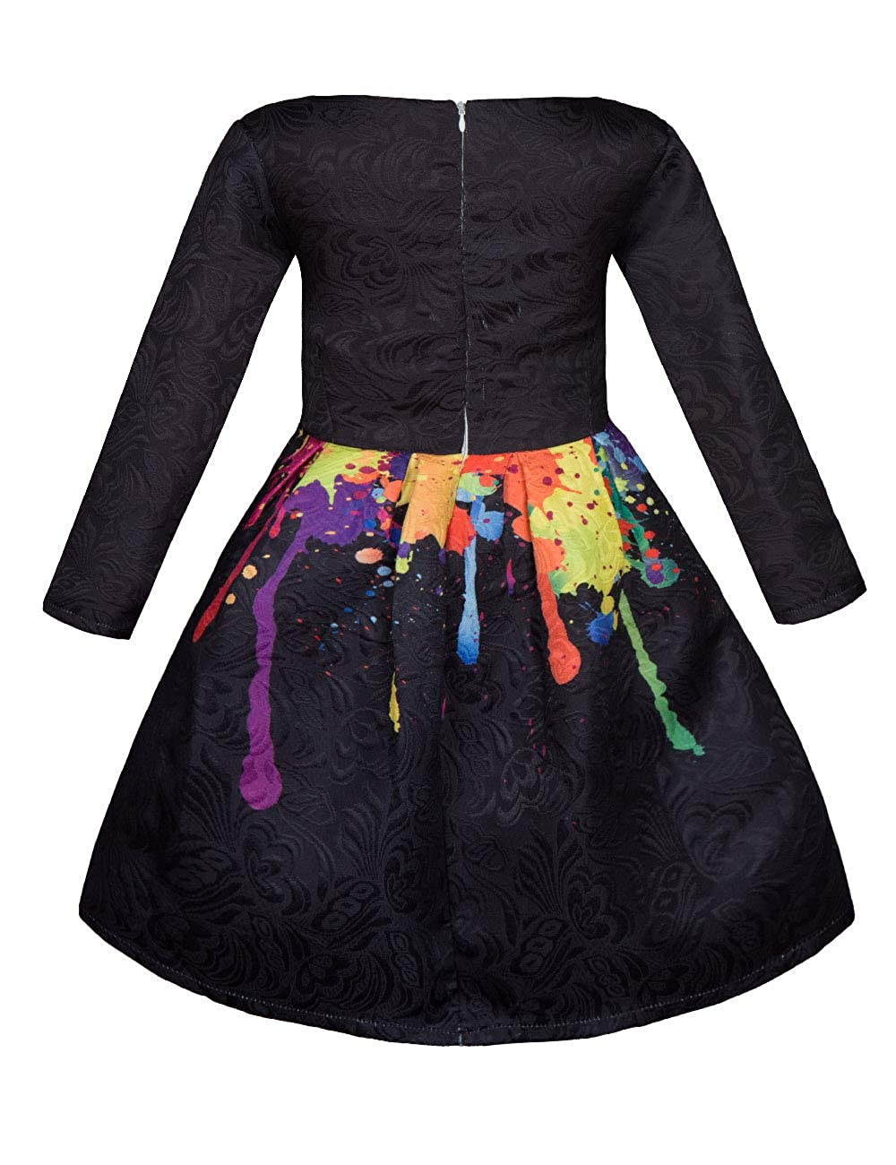 f49100db29af Amazon.com  Girls Kids Casual Dress Paint Butterfly Rose Animal Fall Long  Sleeve Sleeveless Dresses  Clothing