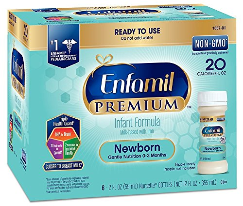 Enfamil Premium Newborn Infant Formula, 20 Calorie/fl oz Nursettes, 0-3 Months 6 ea (Pack of 8) (48 CT) (Best Formula To Use For Newborns)