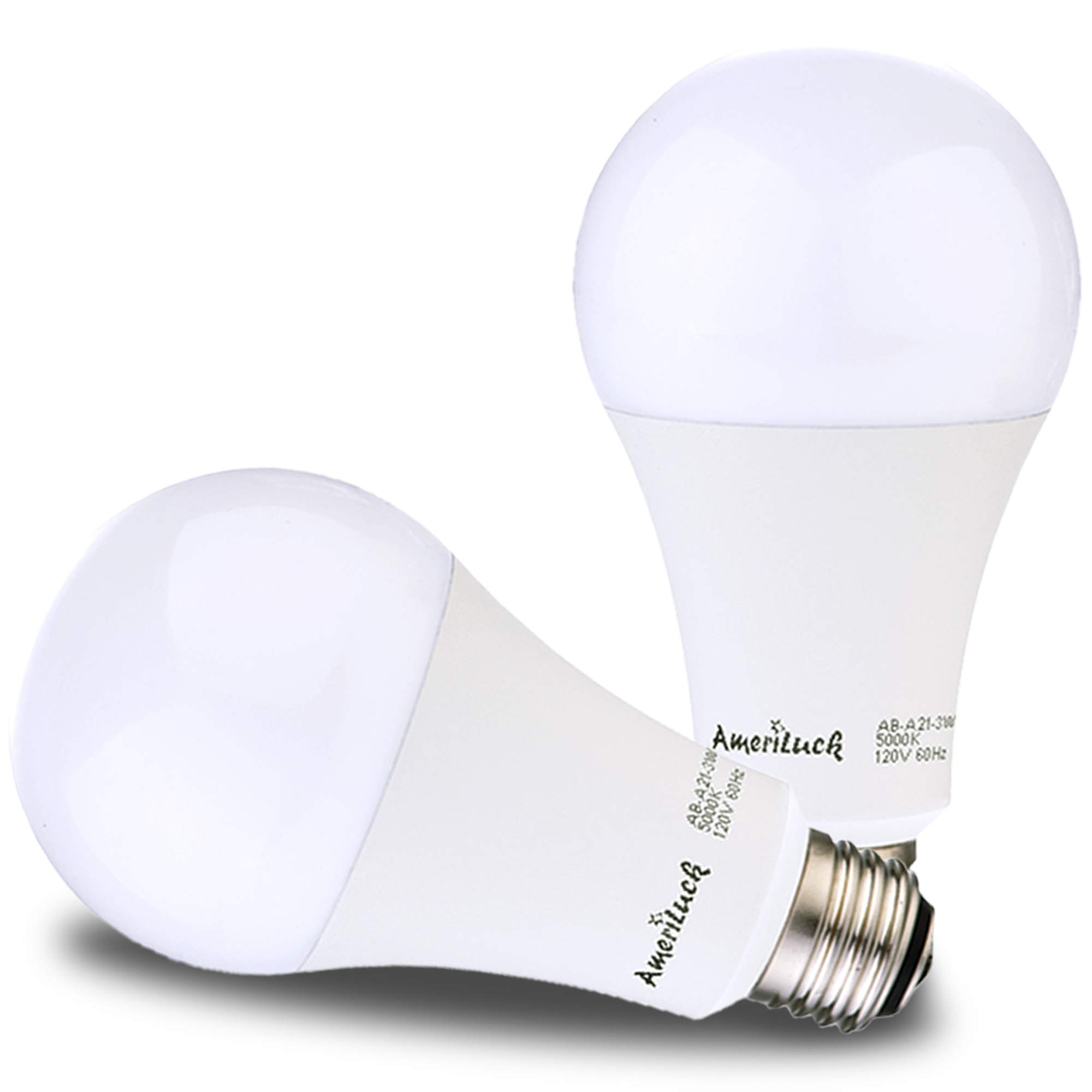 AmeriLuck LED 3-Way Light Bulb, Warm Soft White, 50-100-150W Equivalent, 800-1500-2200+Lumens, Lo-Me-Hi 7-14-20W, CRI 80+, Omni-Directional A21-UL Listed (2700K | 2 Pack)