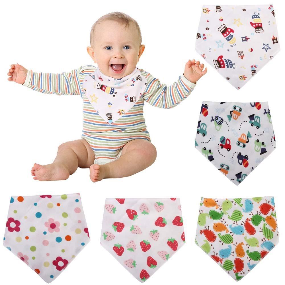 Yovvin 5pcs Bavoir Triangle Bébé Imperméables en Coton avec Boucle Réglable pour Bébé 0-24 mois