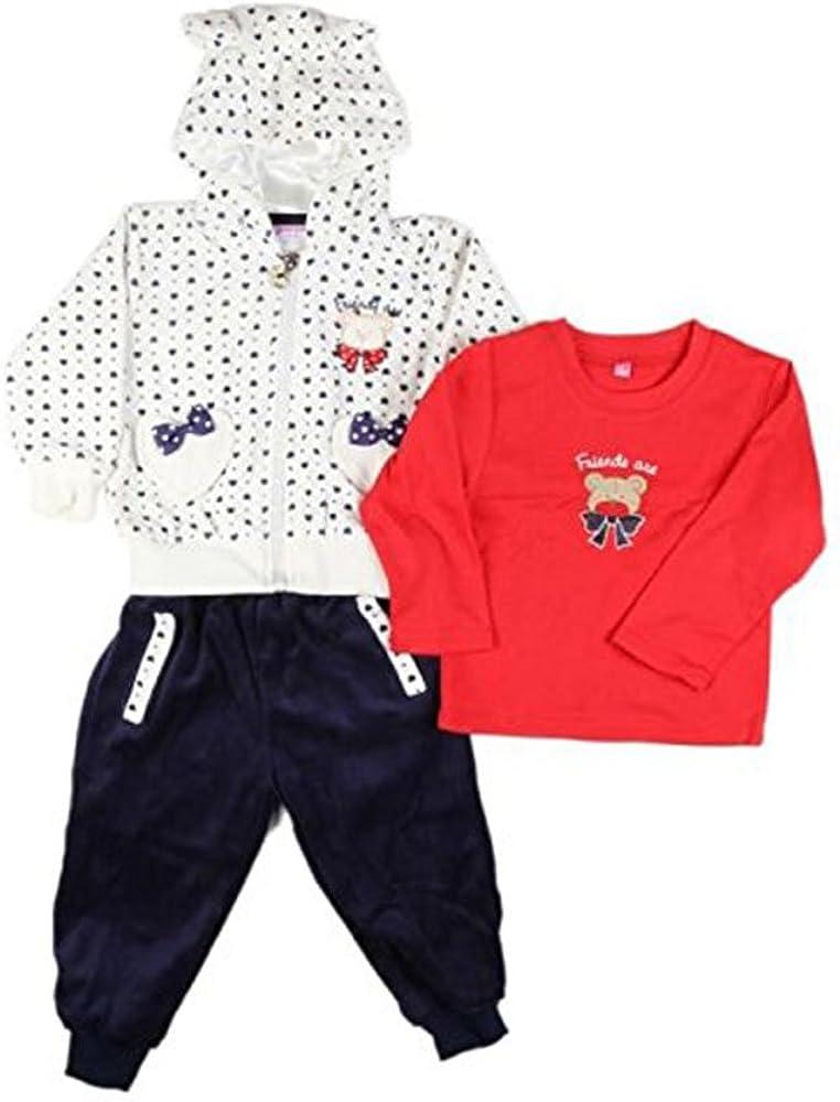 bleu blanc rouge jogging peau de p/êche tee shirt long Ensemble trois pi/èces b/éb/é fille