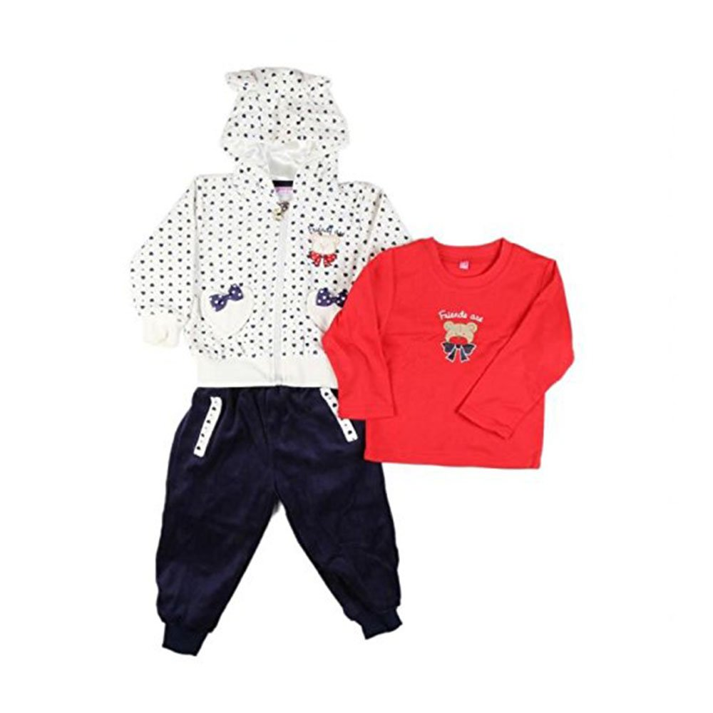 Ensemble trois pièces - jogging peau de pêche, tee shirt long - bébé fille - bleu blanc rouge