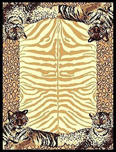 Leopard Animal Skin Print with Tiger Border Area Rug 5 3 x 7 5