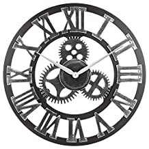 "Decorative Wall Clock, Eruner 23"" Oversized Clocks Mechanism 3D Gear Roman Numerals Design Handmade Large Round Non-Ticking Home Kitchen Living Room Restaurant Bar Decoration Silver"