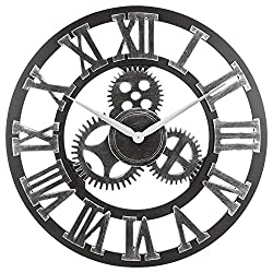 """16"""" Roman Numeral Wall Clock, Eruner Industrial Large Decorative 3D Gear Wooden Clock Silent Non-ticking European Retro for Kitchen Living Room Cafe Restaurant Decor, Silver 16-Inch"""