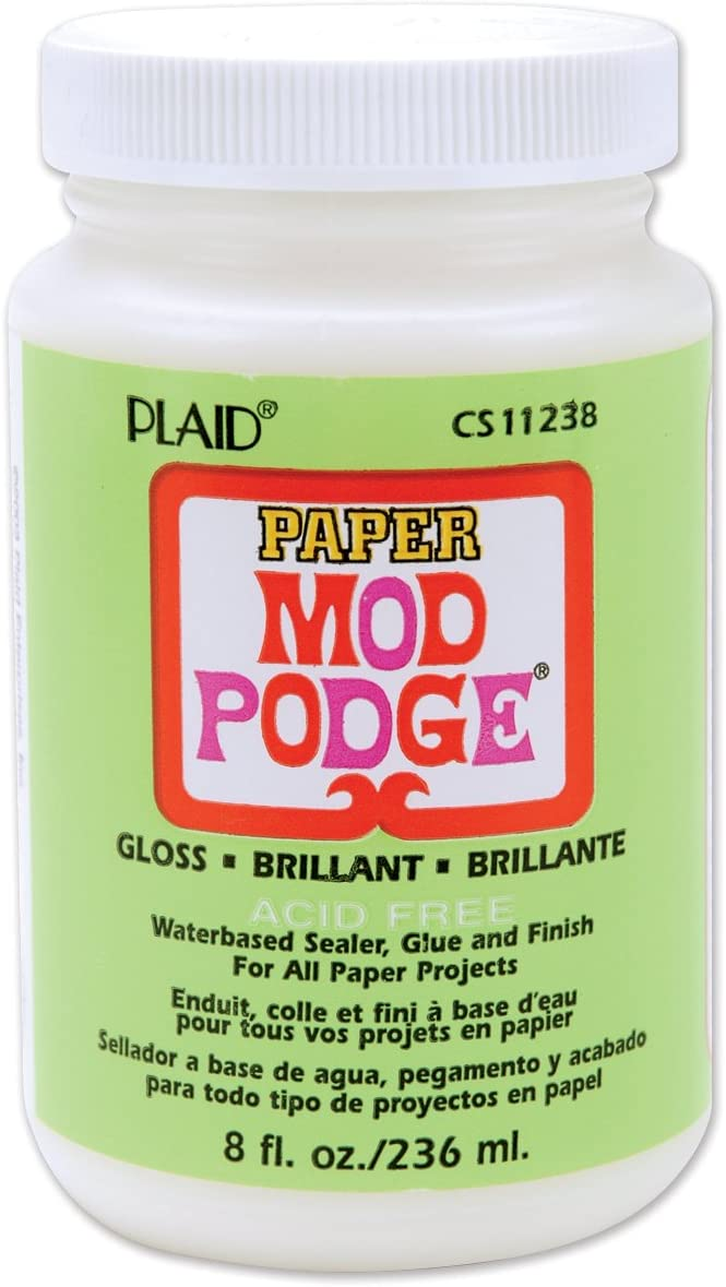 Mod Podge Waterbase Sealer, Glue and Finish for Paper (8-Ounce), CS11238 Gloss Finish